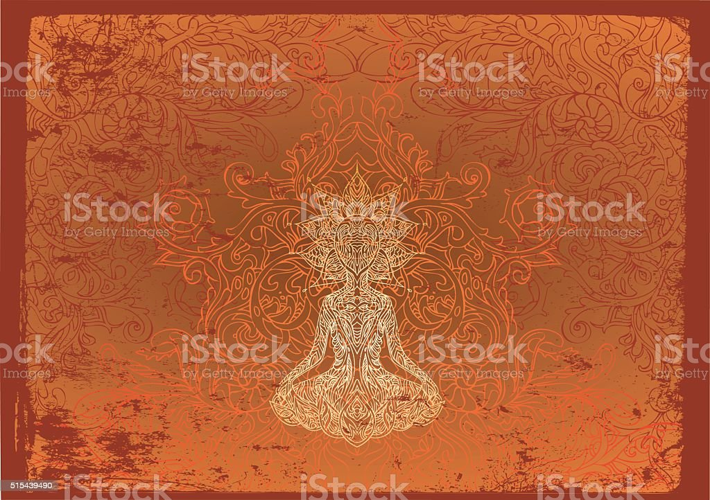 fiery buddha vector art illustration