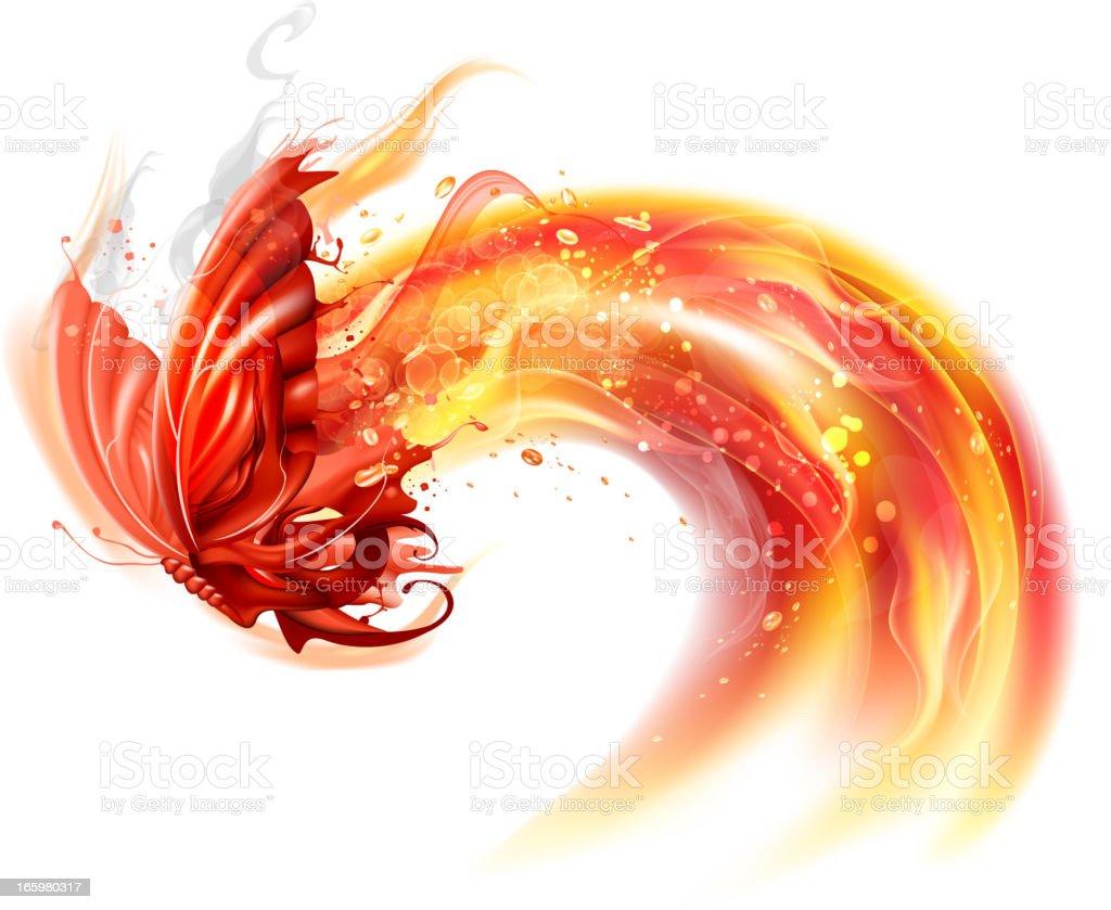 Fiery butterfly vector art illustration