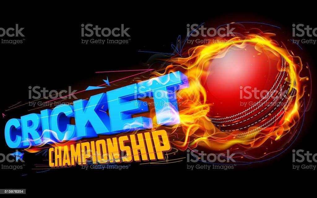 Fiery cricket ball vector art illustration