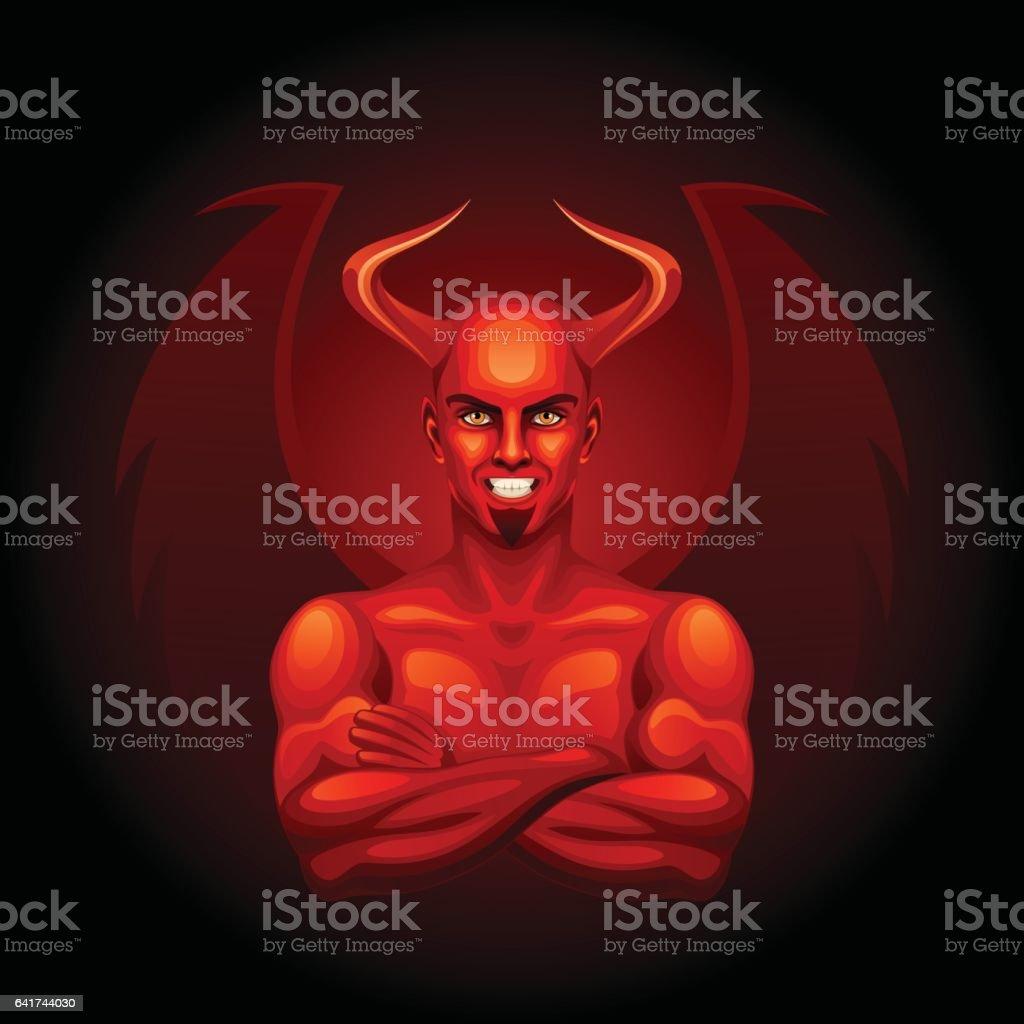 Fiery devil vector art illustration