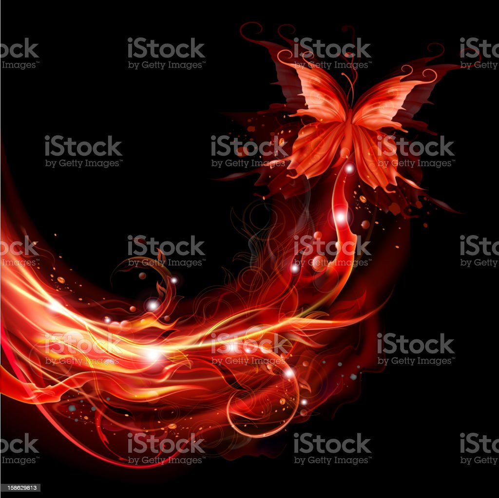 Fiery flying butterflies vector art illustration