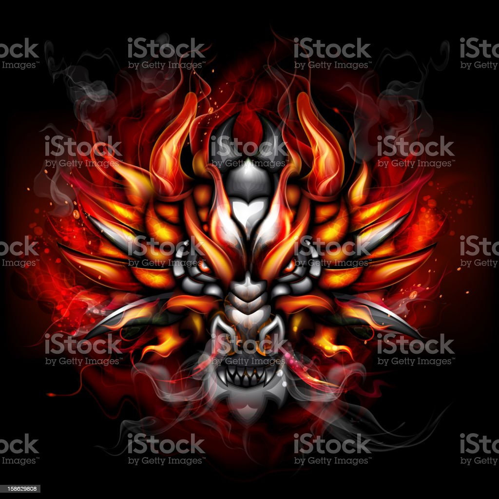Fiery gothic dragon vector art illustration