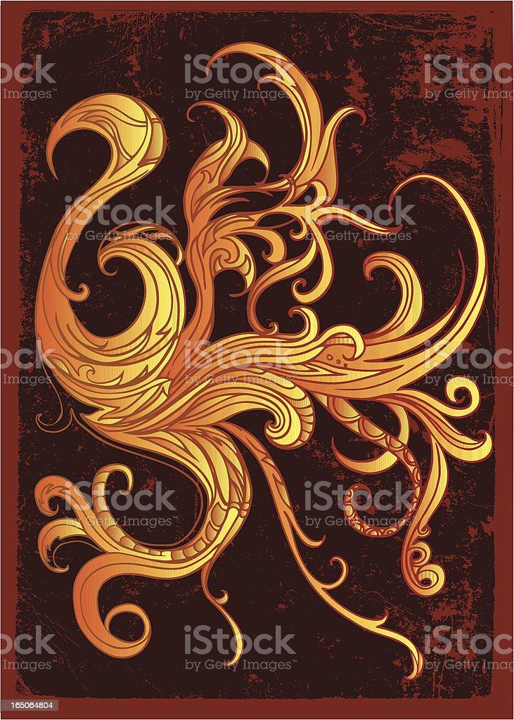 fiery phoenix abstract royalty-free stock vector art