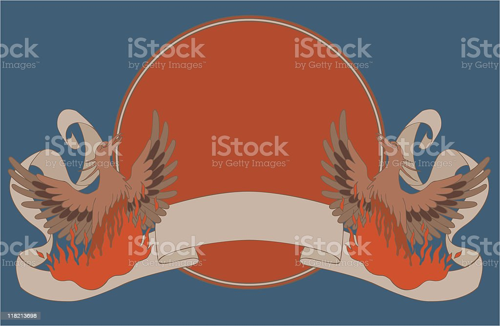 Fiery Phoenix with curly ribbon coat of arms royalty-free stock vector art
