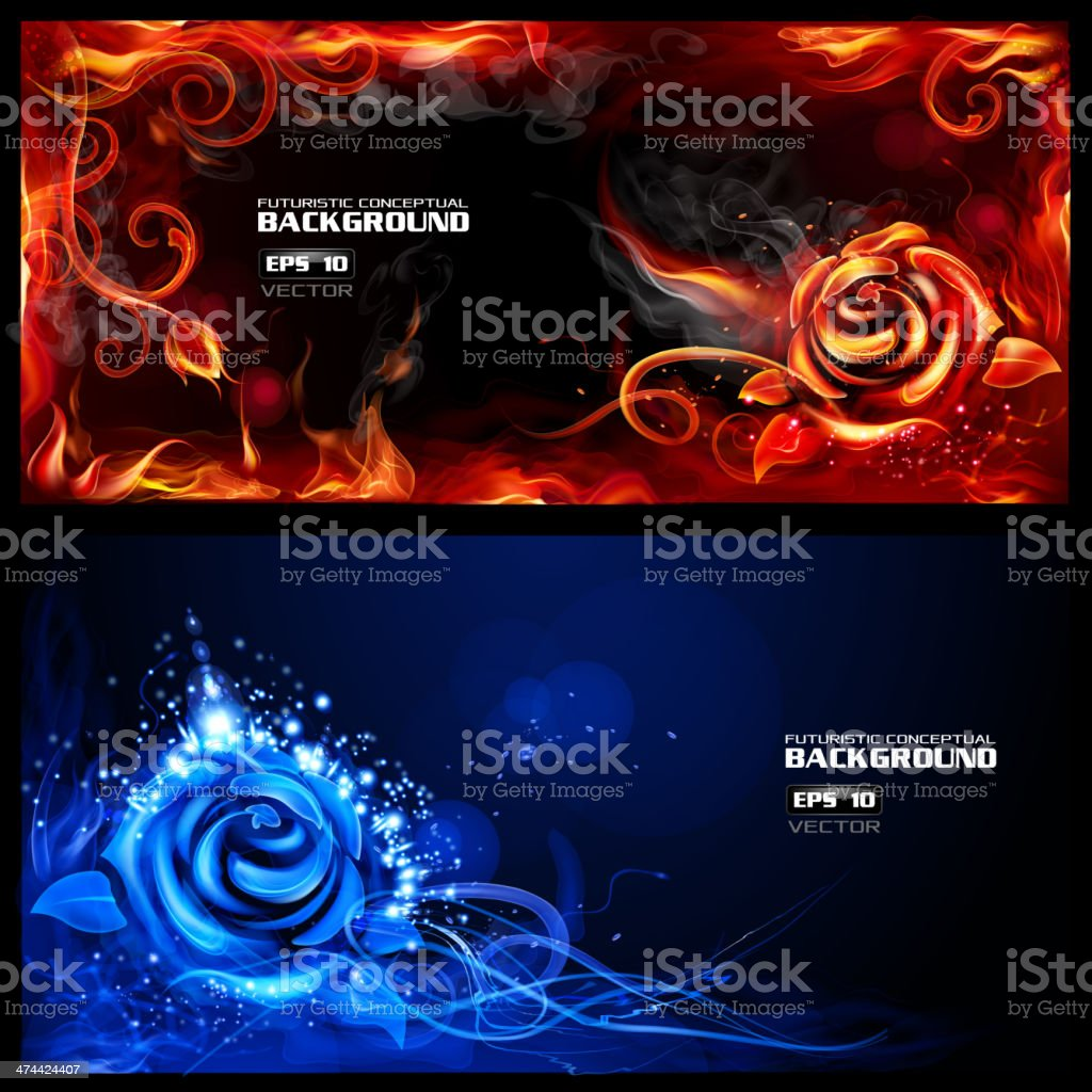 Fiery Roses banners vector art illustration