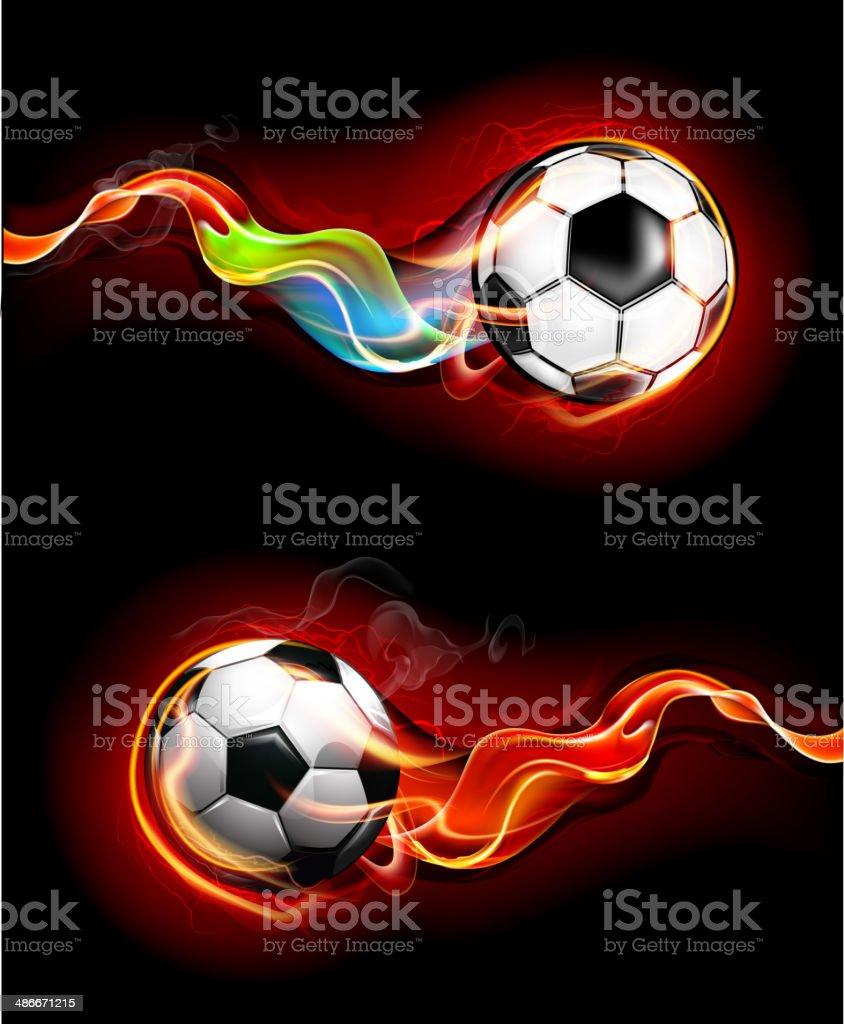 Fiery soccer balls vector art illustration