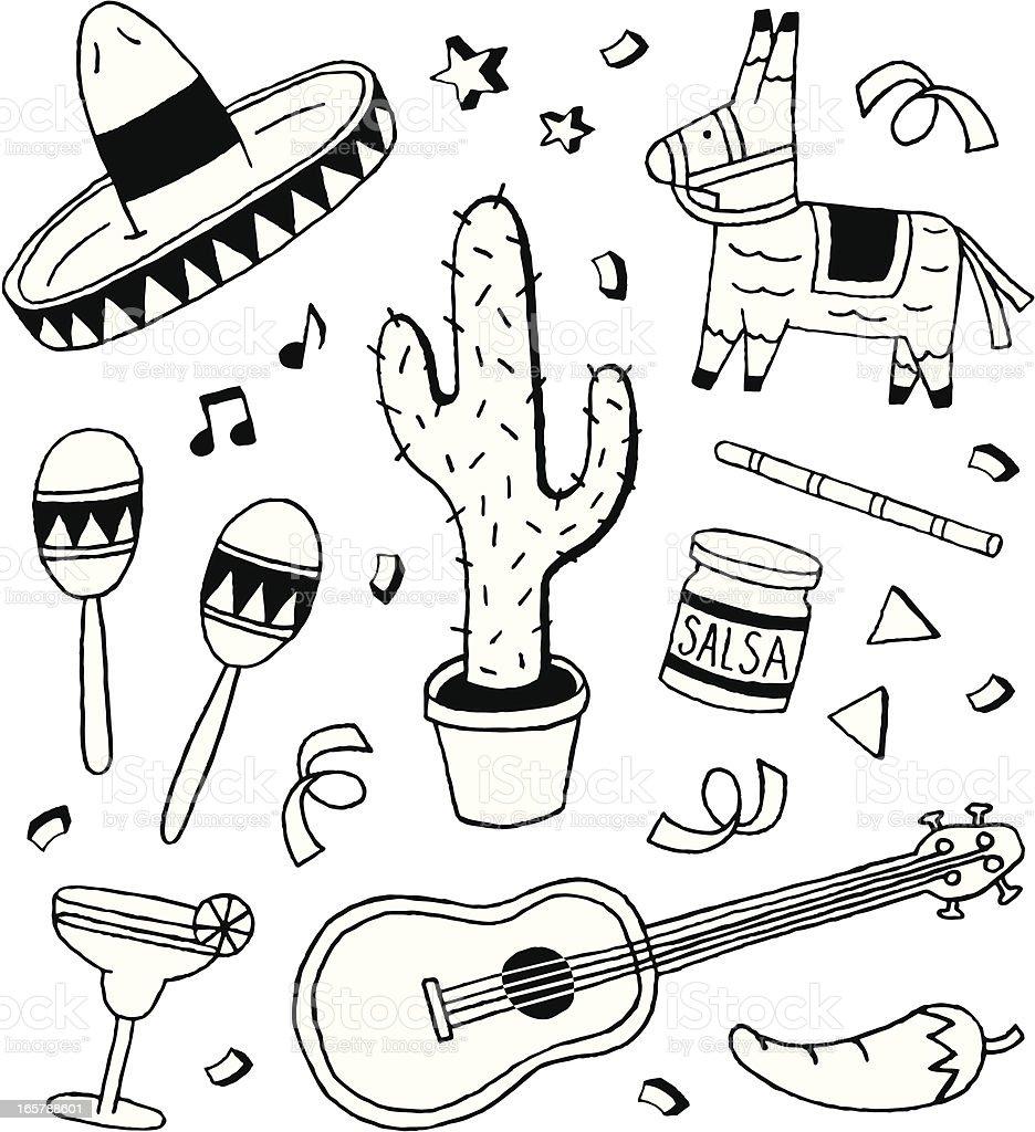 Fiesta Doodles vector art illustration