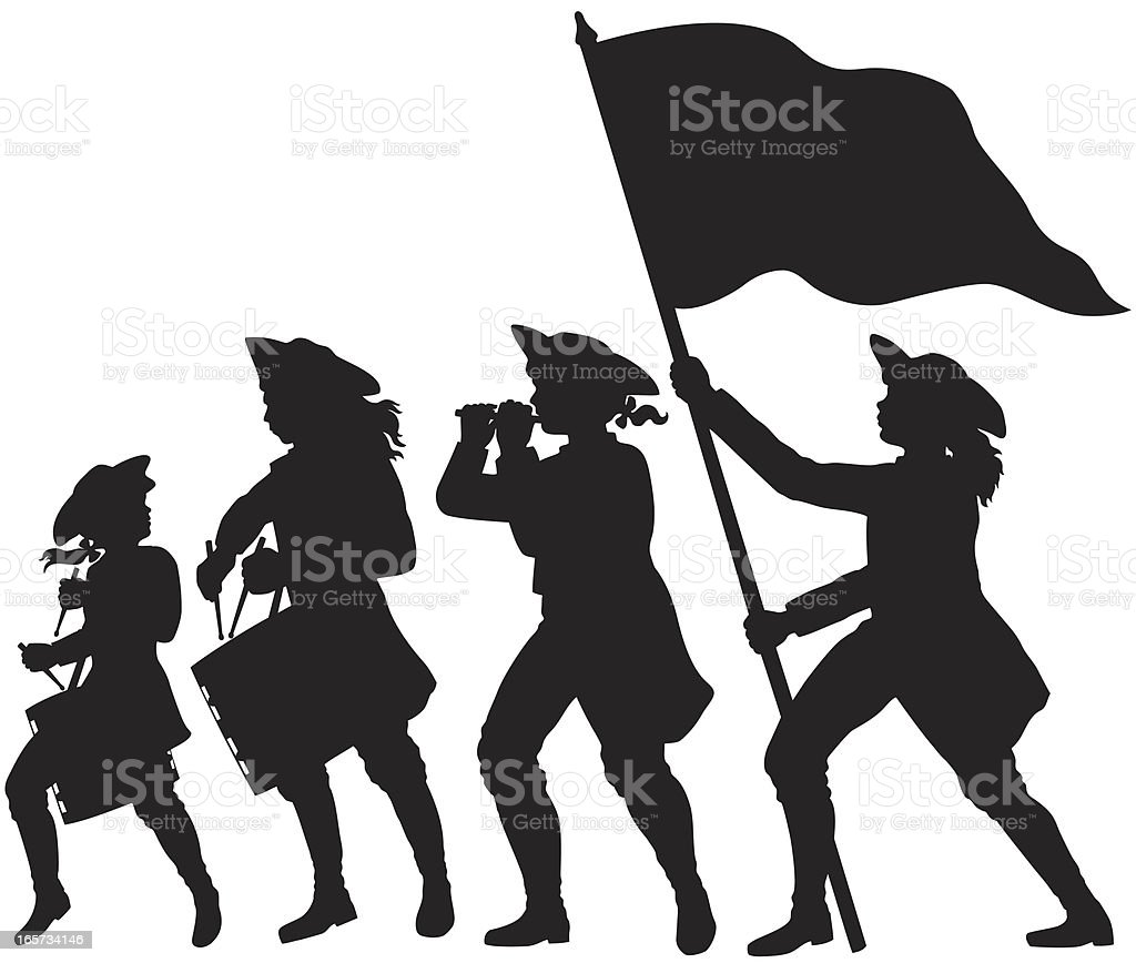Fife, drums, and flag marching silhouettes vector art illustration