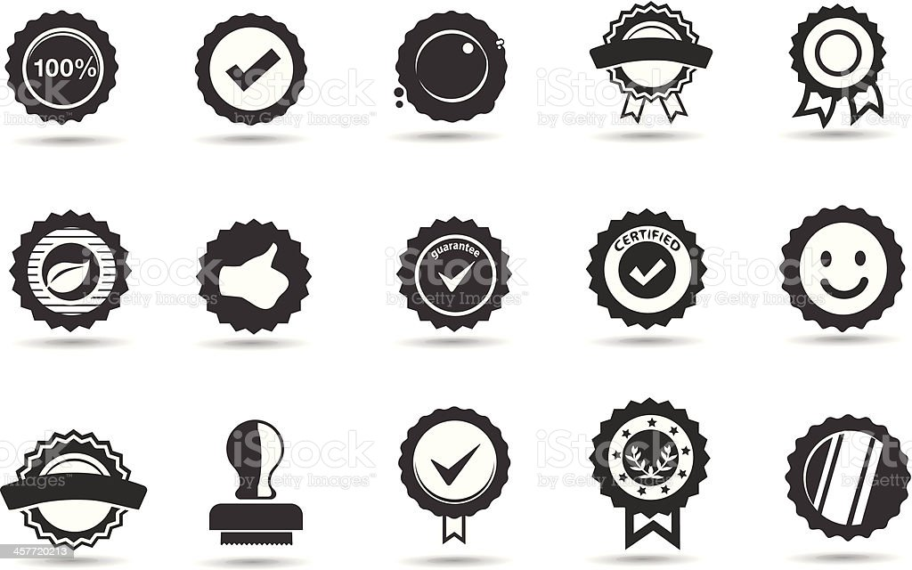 Fifteen black and white icons of badges and seals vector art illustration