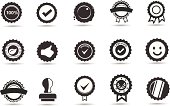 Fifteen black and white icons of badges and seals