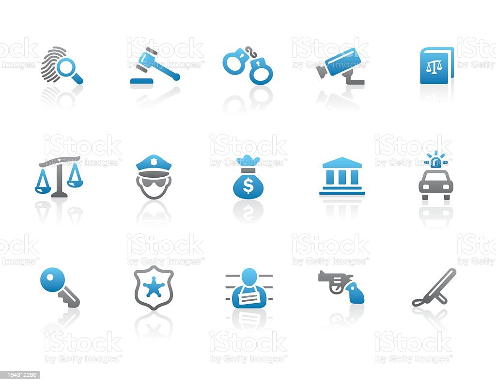 Fifteen blue and gray legal and crime icons royalty-free stock vector art