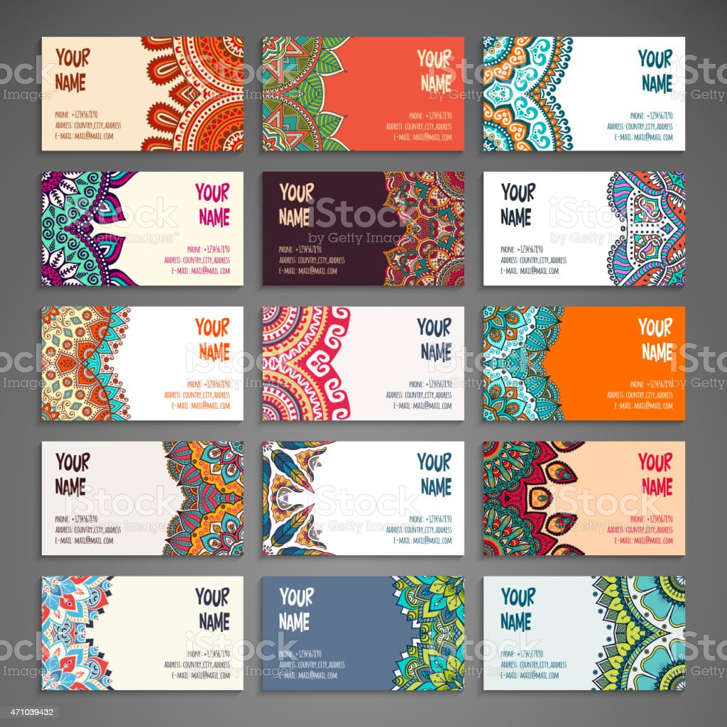 Fifteen colored paisley business cards vector art illustration
