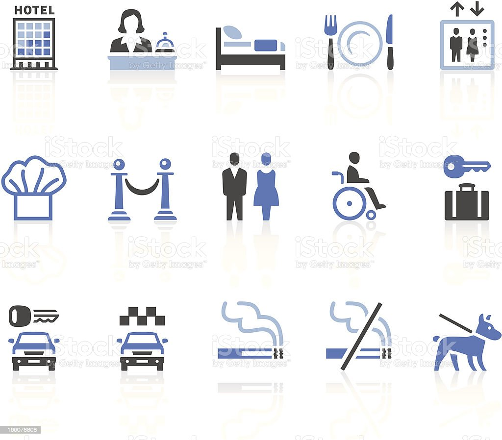 Fifteen graphic illustrations of various hotel icons royalty-free stock vector art