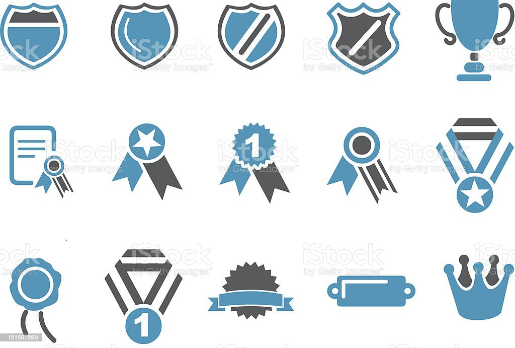 Fifteen grey and blue badge icon set royalty-free stock vector art