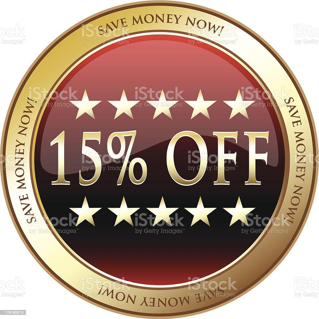 Fifteen Percent Off Advertisement Medal royalty-free stock vector art