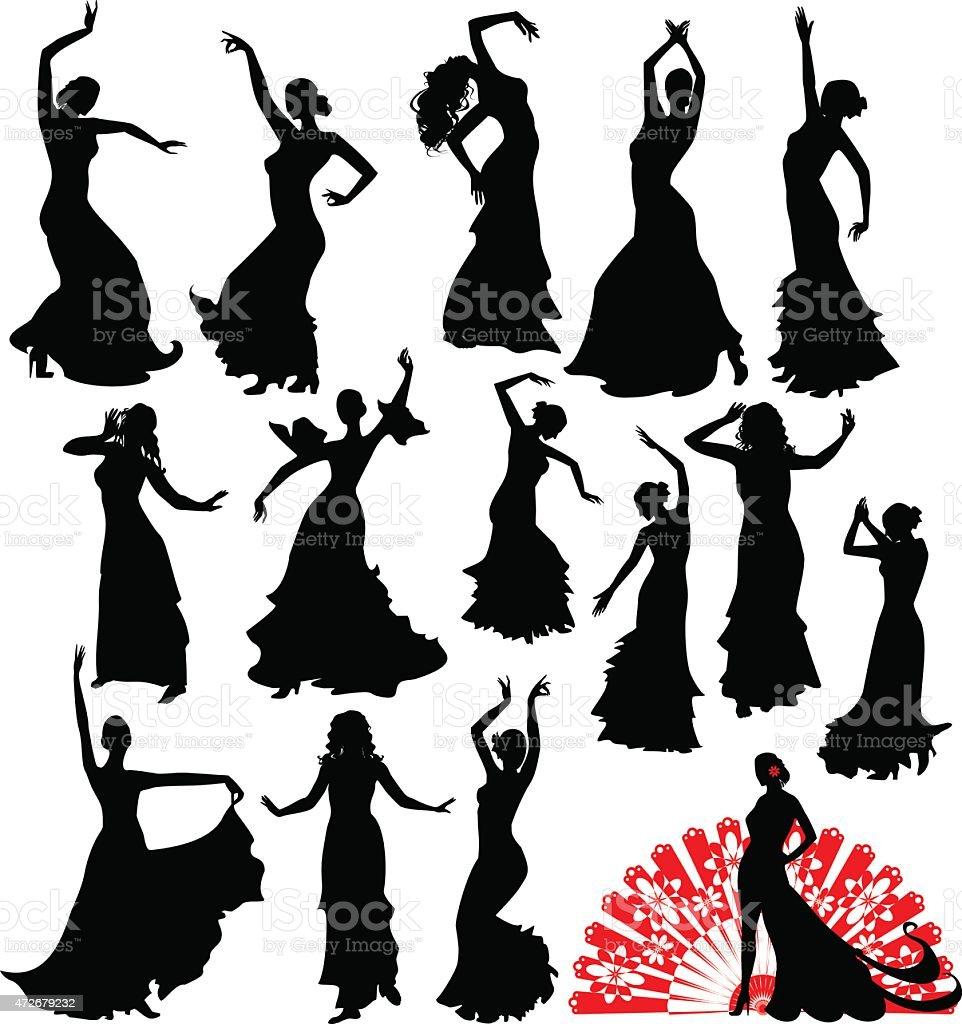 Fifteen silhouettes of dancer vector art illustration