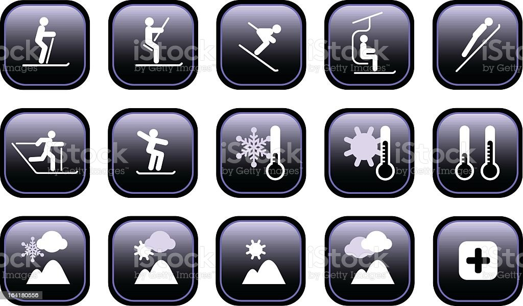 Fifteen winter sport and weather icons vector art illustration