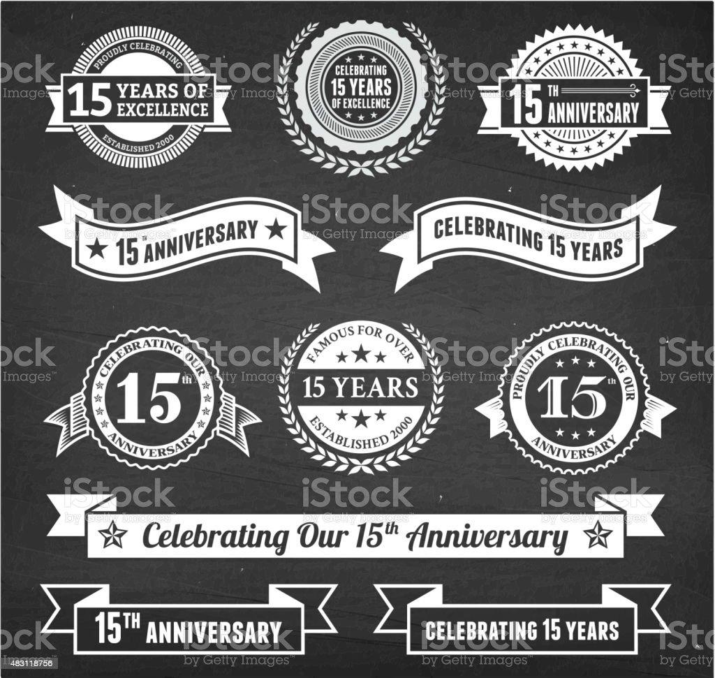 fifteen year anniversary hand-drawn chalkboard royalty free vector background vector art illustration
