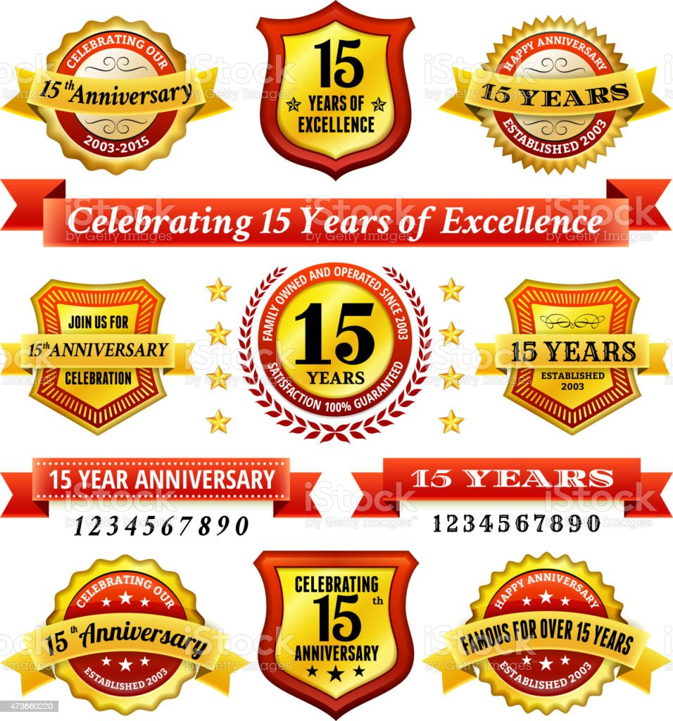 fifteen year anniversary royalty free vector background with golden badges vector art illustration