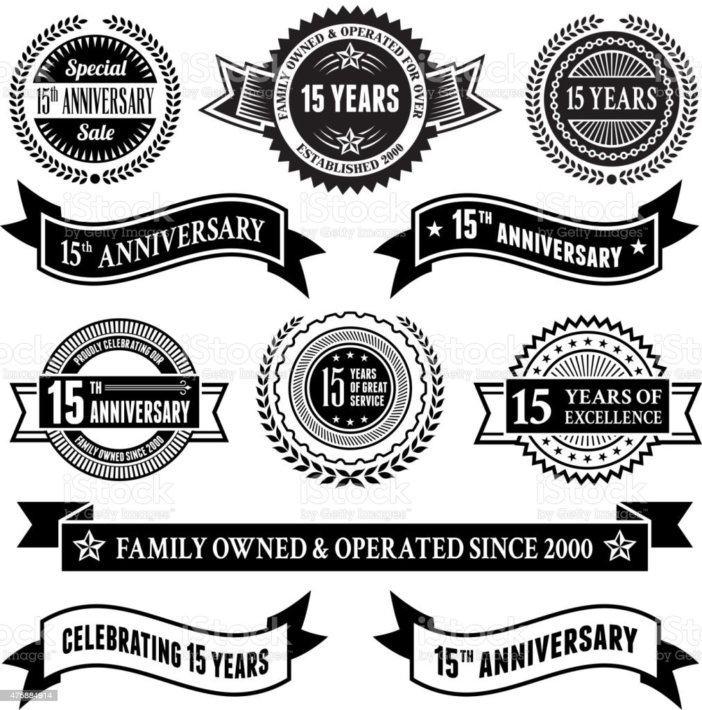fifteen year anniversary vector badge set royalty free vector background vector art illustration