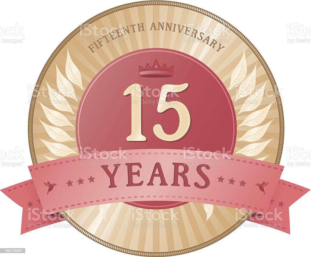 Fifteen Years Anniversary Badge vector art illustration