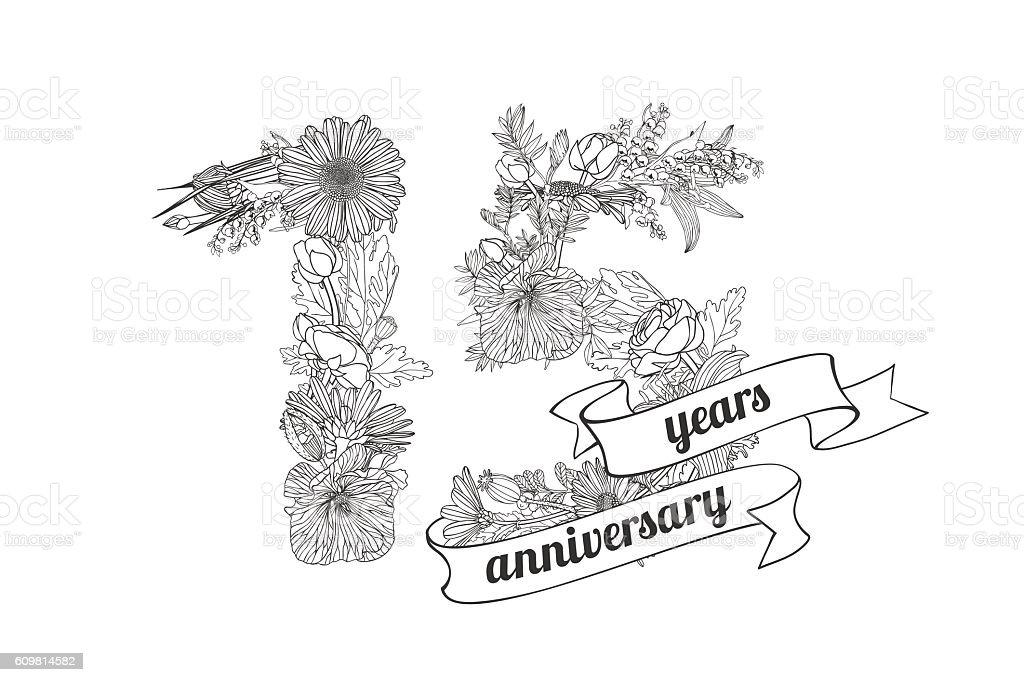 fifteen (15) years anniversary vector art illustration