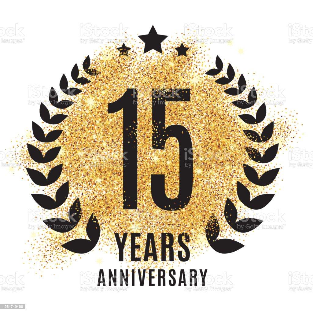 fifteen years golden anniversary vector art illustration