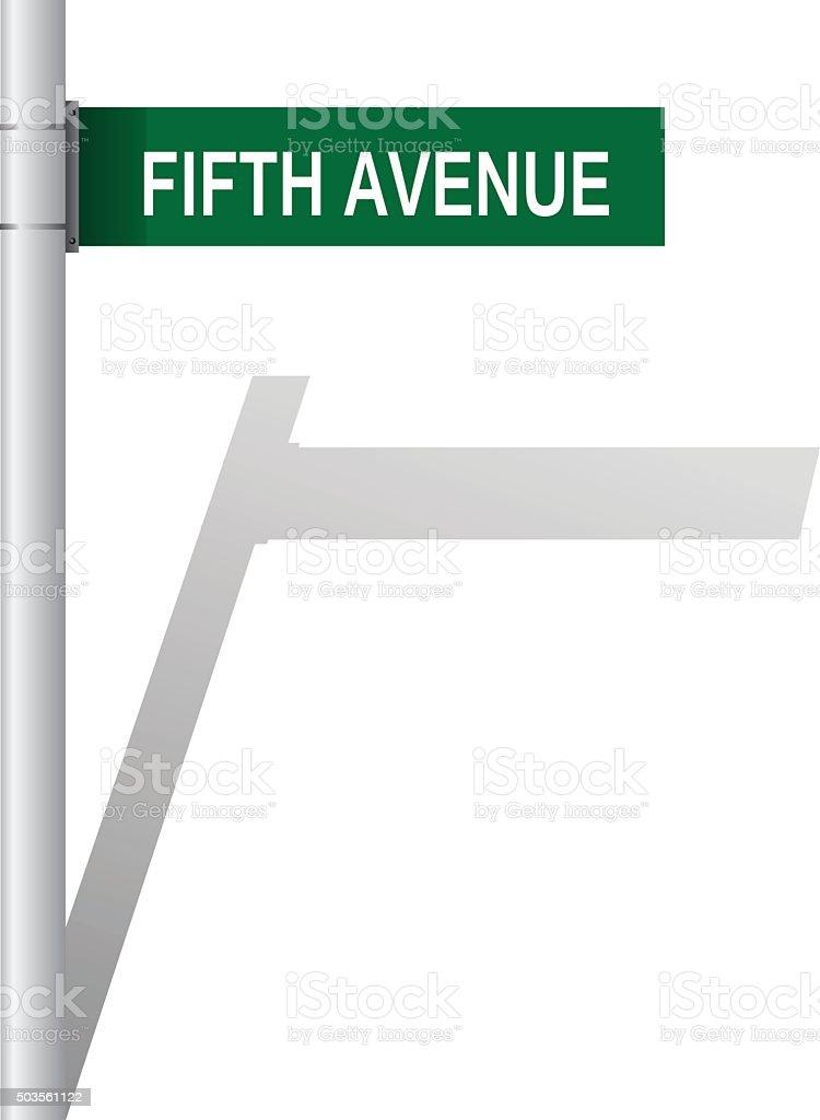 Fifth Avenue green sign vector vector art illustration
