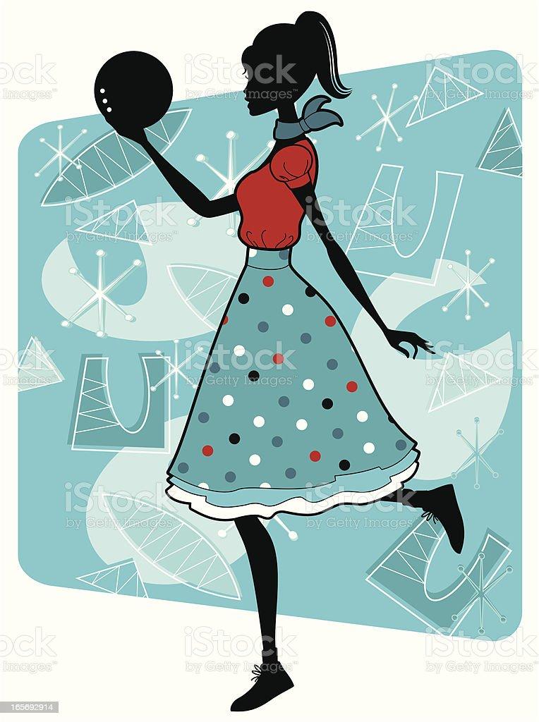Fifties Bowling Girl royalty-free stock vector art