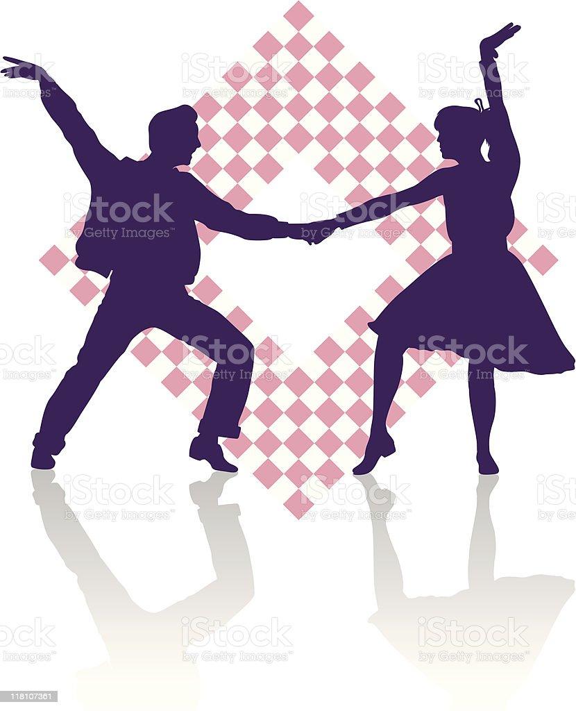 Fifties dancers vector art illustration