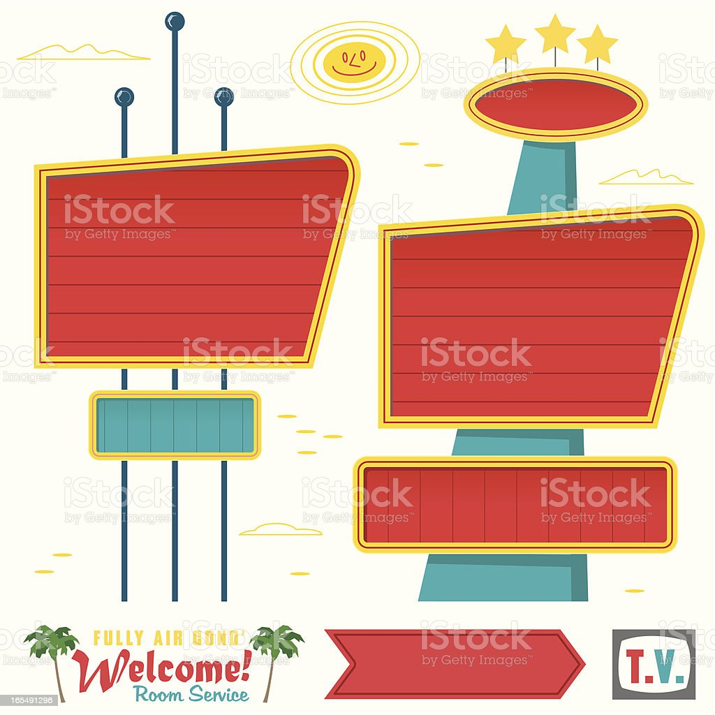 Fifties Signs in the Sun royalty-free stock vector art