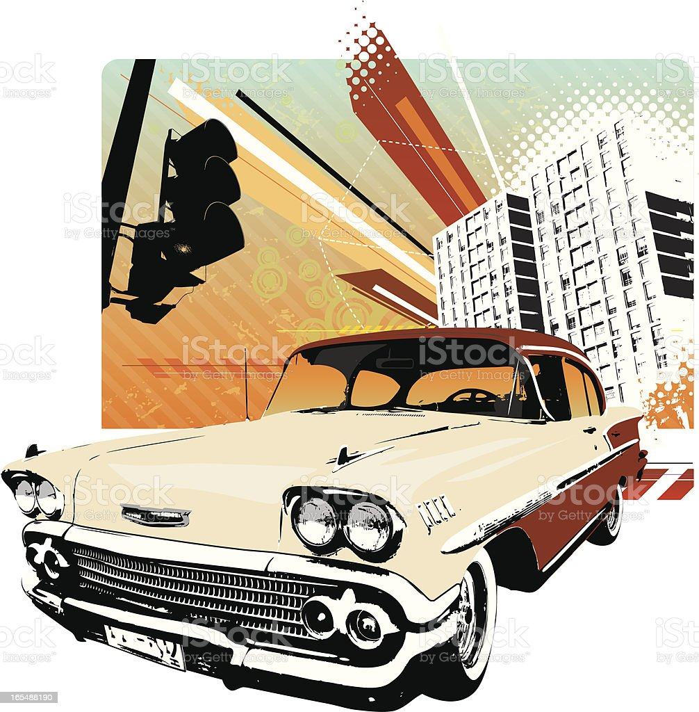 Fifties urban ride vector art illustration