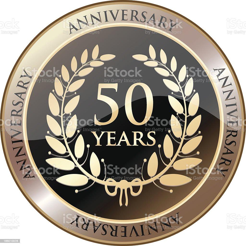 Fiftieth Anniversary Celebration Shield vector art illustration