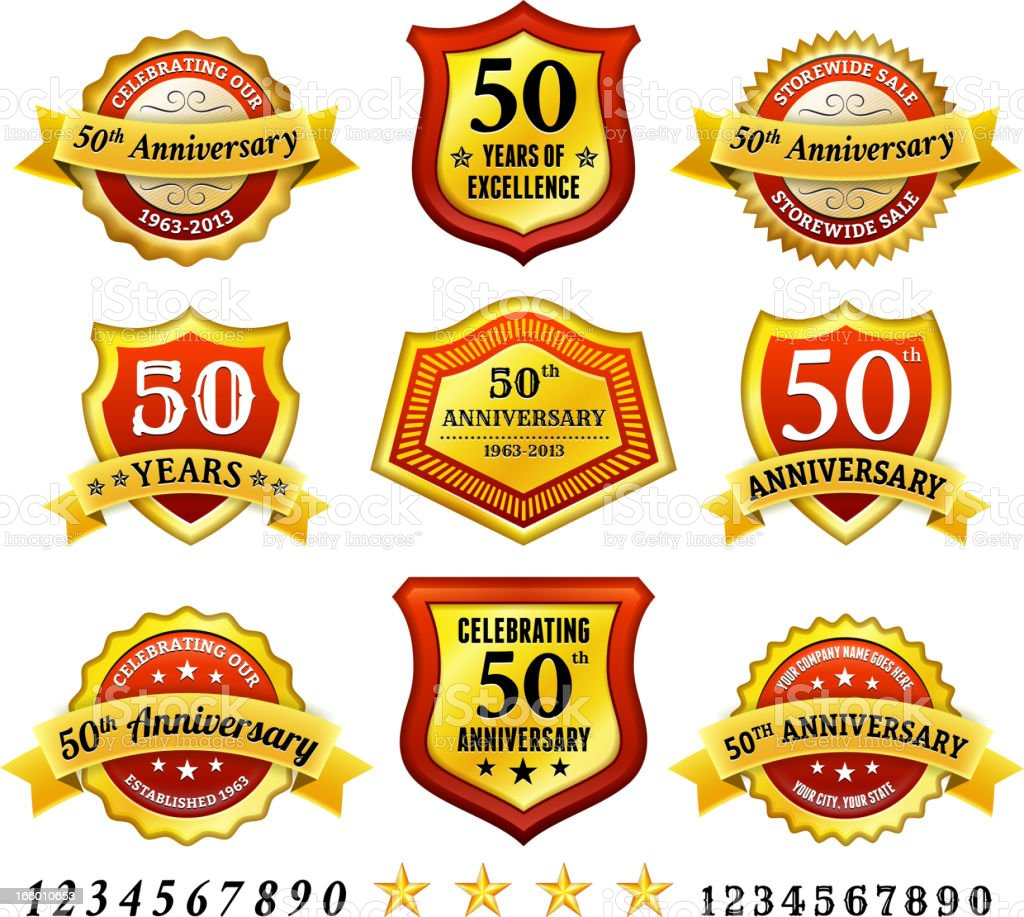 Fiftieth Anniversary Red Badge Collection royalty-free stock vector art