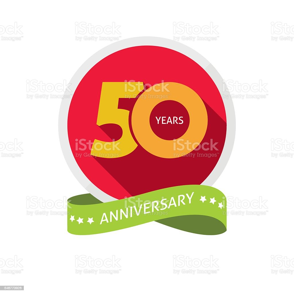 Fiftieth years anniversary logo, 50 year birthday sticker label vector art illustration