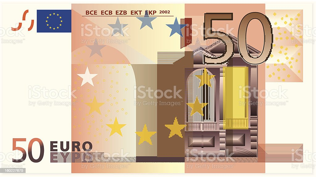 Fifty euro banknote royalty-free stock vector art