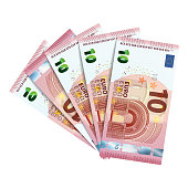 Fifty euro in bundle of banknotes of 10 euro