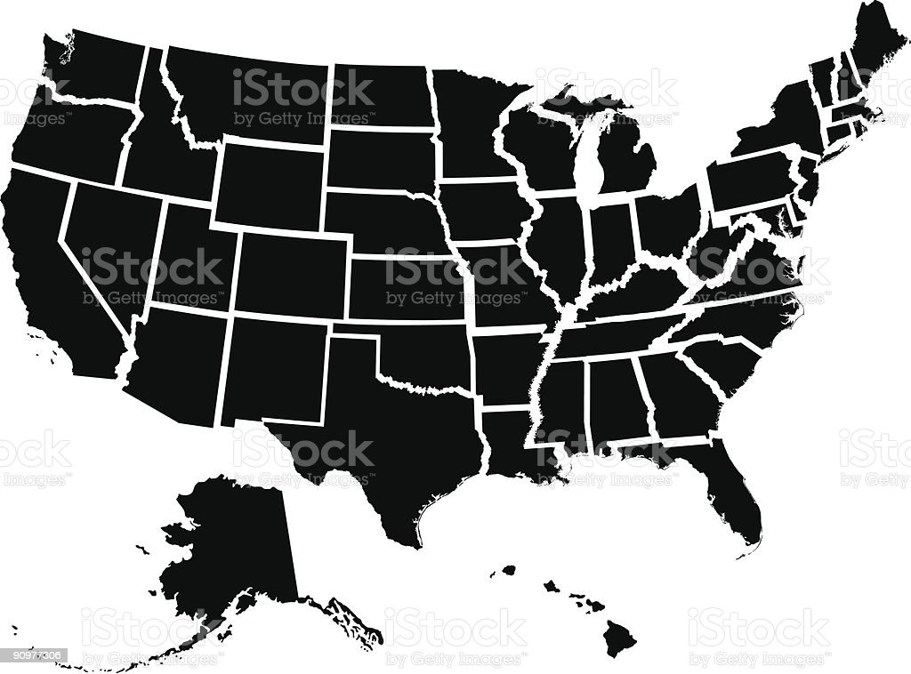 Fifty Individual States vector art illustration