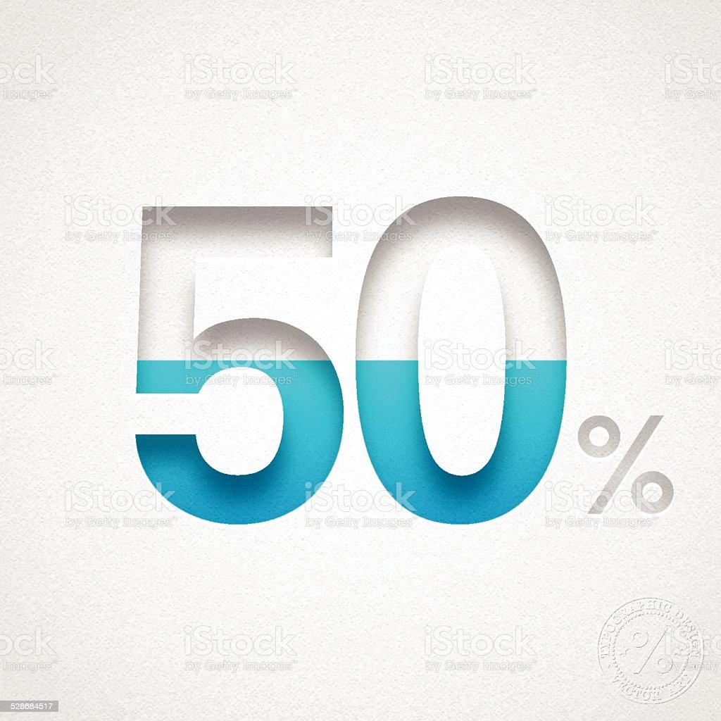 Fifty Percent Design (50%) - Blue number on Watercolor Paper vector art illustration