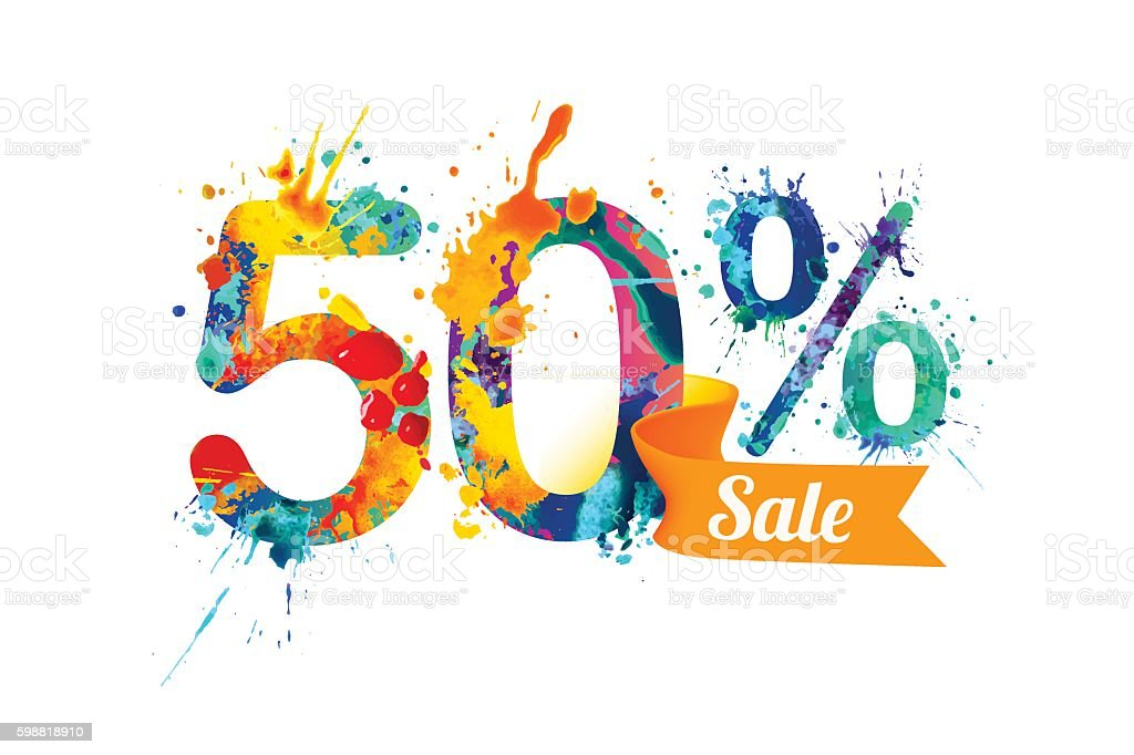 fifty (50) percents sale. Splash paint vector art illustration