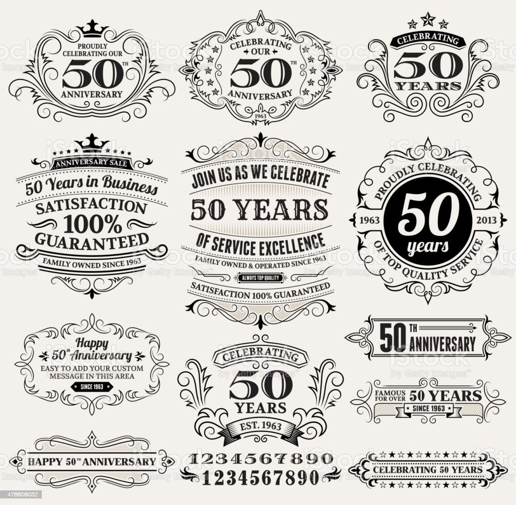 fifty year anniversary hand-drawn royalty free vector background on paper vector art illustration
