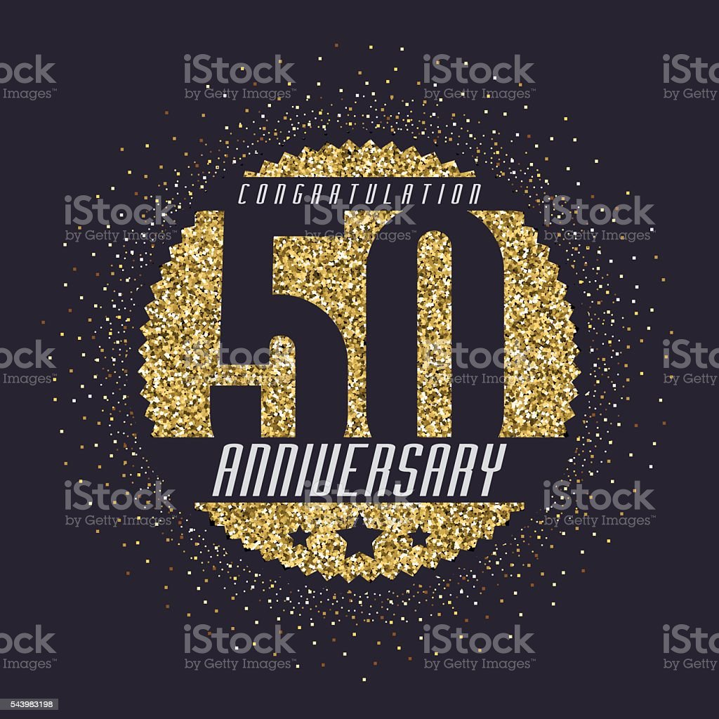 Fifty years anniversary celebration logotype. 50th anniversary golden logo. vector art illustration