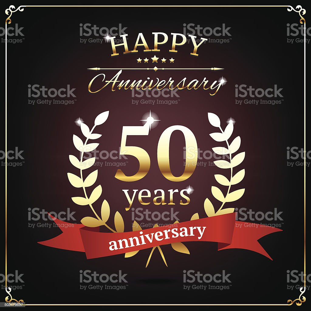 Fifty years anniversary golden sign vector art illustration