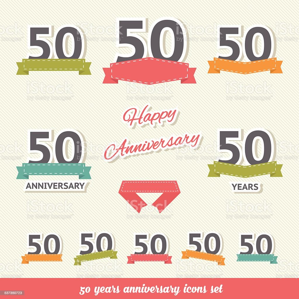 Fifty years anniversary icons collection vector art illustration