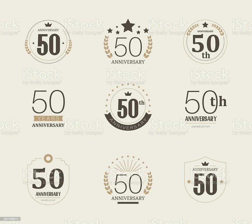 Fifty years anniversary logo. 50th anniversary vintage logotype. vector art illustration