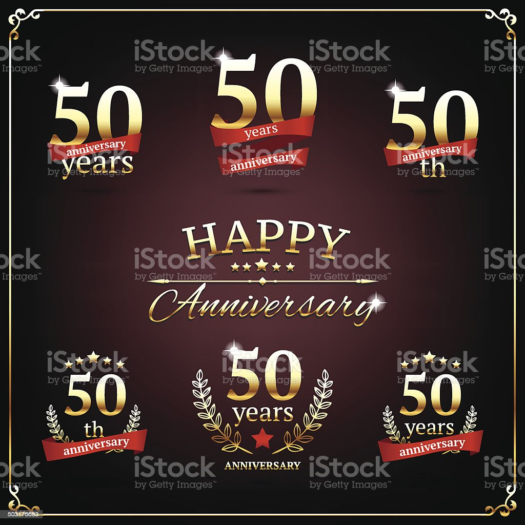 Fifty years anniversary signs collection vector art illustration