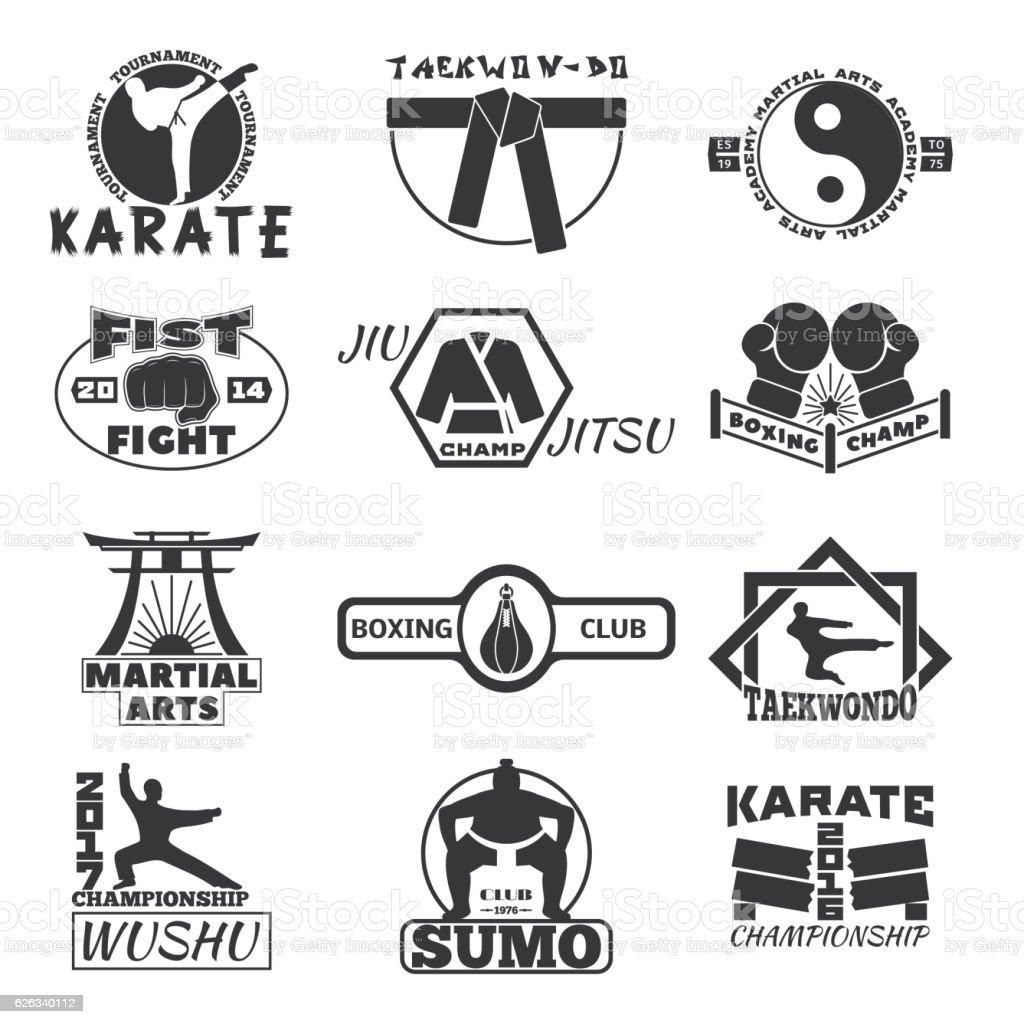 Fight club bages vector set. vector art illustration