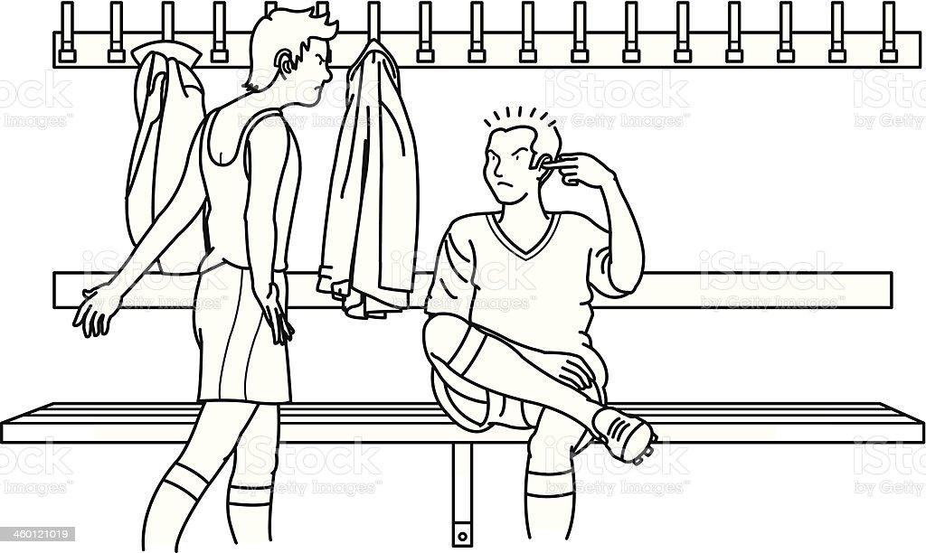fight in dressing room vector art illustration