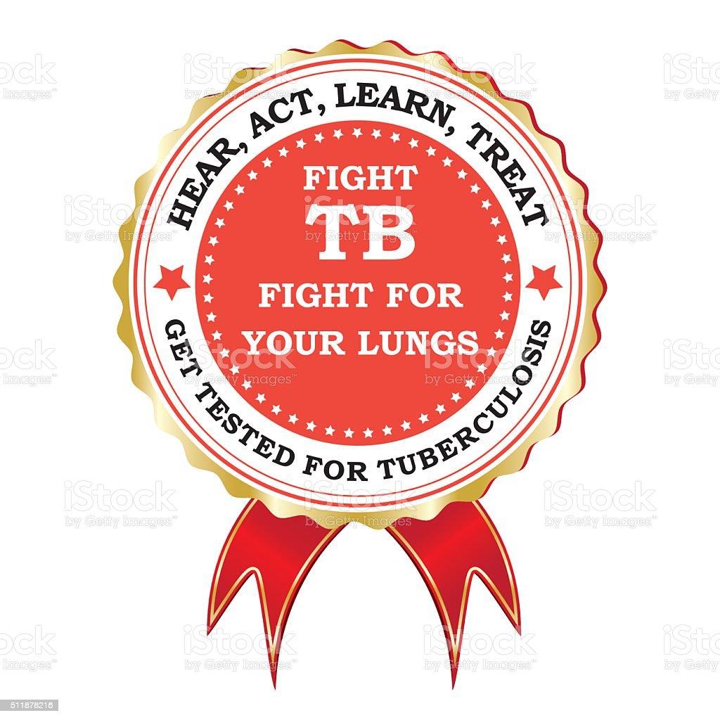 Fight tuberculosis - red ribbon vector art illustration