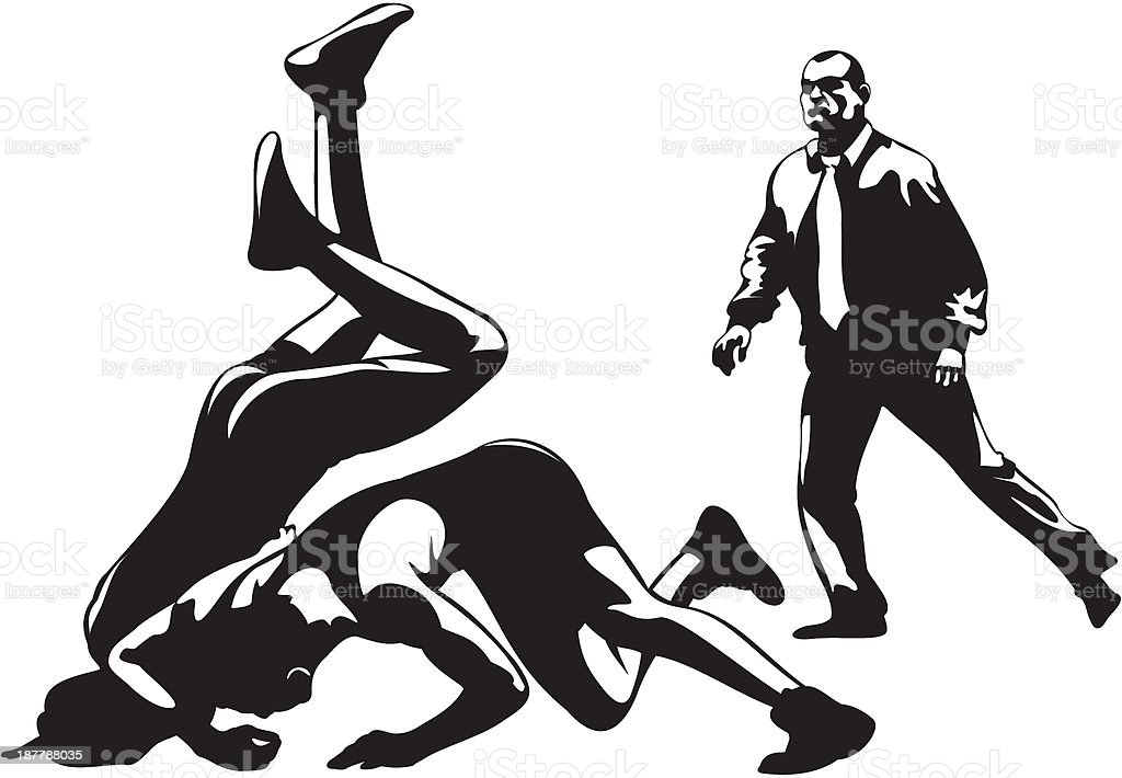 fight wrestling and referee vector art illustration